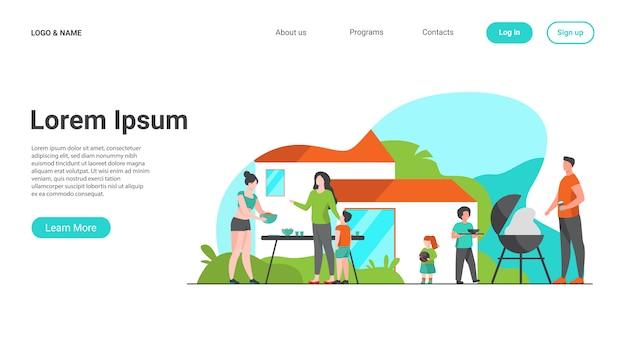 Familie op bbq-feest op achtertuin platte vectorillustratie