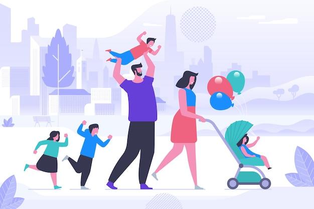 Familie op buiten wandeling platte vectorillustratie. lachende moeder, vader, zonen en dochters stripfiguren. ouders met kinderen op wandeling in het park. gelukkige familierecreatie, kinderactiviteit