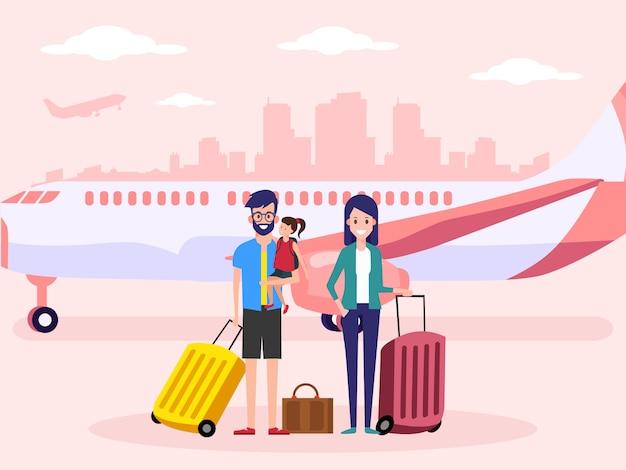 Familie op de luchthaven.