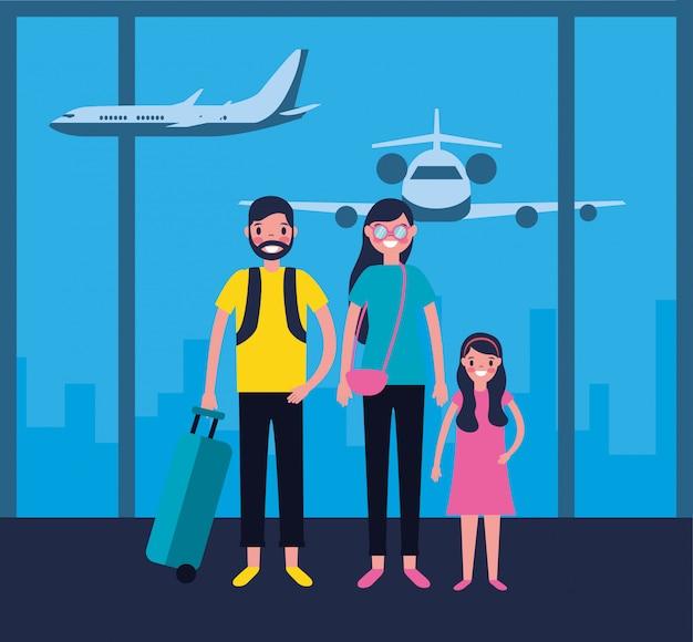 Familie op de luchthaven