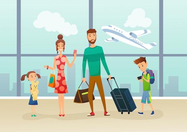 Familie op de luchthaventerminal met bagage en koffer. familie reizen. vader moeder, zoon en dochter op de luchthaven. familie op vakantie