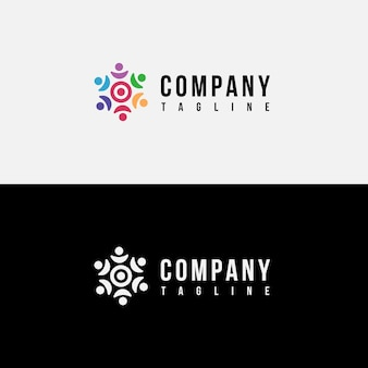 Familie op doel logo-ontwerp