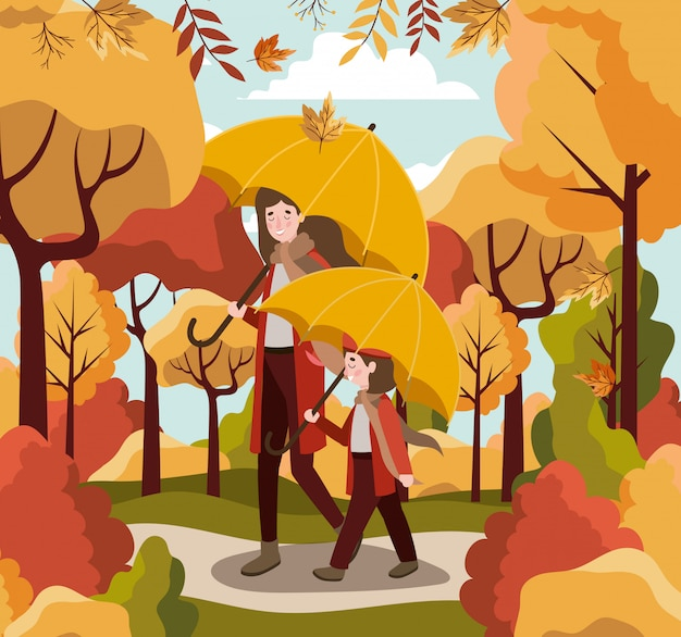Familie op herfst achtergrond