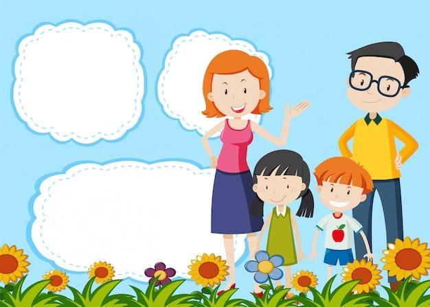 Familie op notitie sjabloon