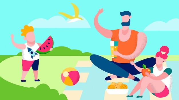 Familie op picknick platte vectorillustratie