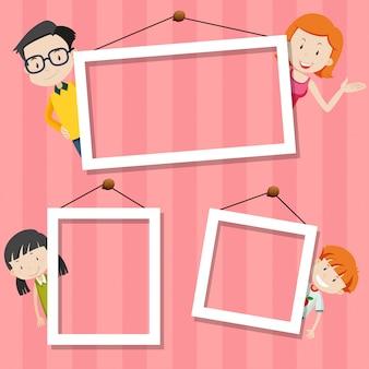 Familie op schattig frame