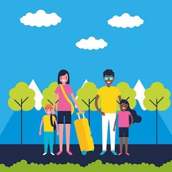 Familie op vakantie
