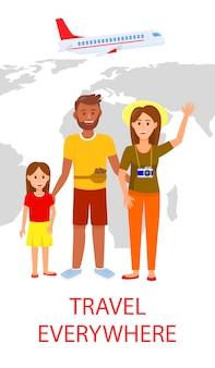 Familie op wereldkaart achtergrond vlakke vliegermalplaatje