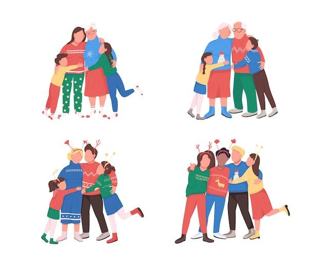 Familie op wintervakantie egale kleur gezichtsloze tekenset. vader, moeder met kinderen. vier kerstmis samen geïsoleerde cartoon afbeelding voor web grafisch ontwerp en animatie collectie