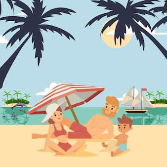 Familie op zomervakantie illustratie.