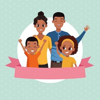 Familie-ouders en kinderen cartoons