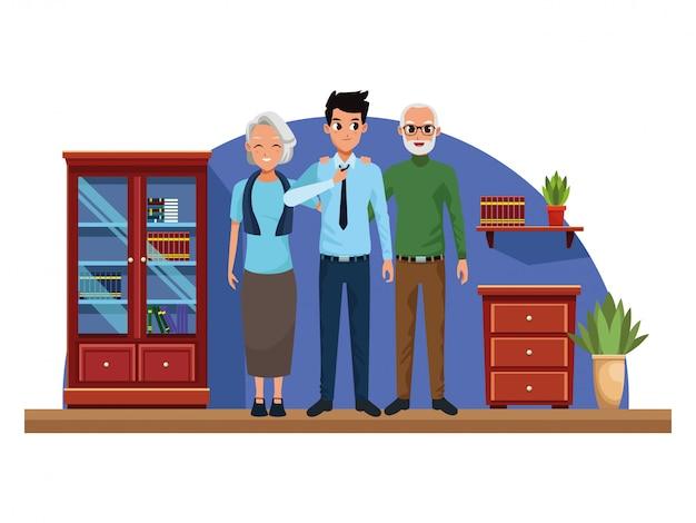 Familie ouders en zoon cartoons