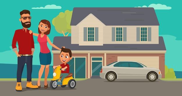 Familie. ouders, grootouders en kind op een driewieler op achtergrond met huis en auto. kleur platte vectorillustratie