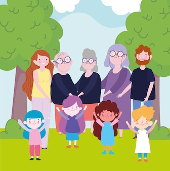 Familie ouders grootouders kinderen samen