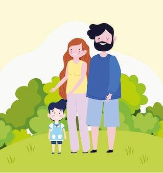 Familie ouders zoon cartoon landschap