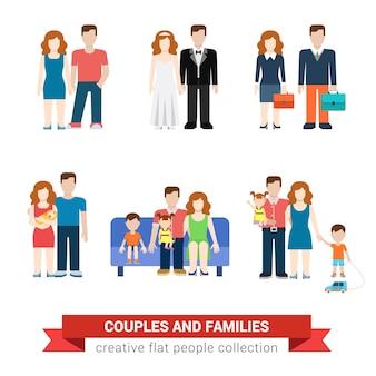 Familie paar vlakke stijl mensen jonggehuwden ouderschap ouders kinderen zoon dochter vrouw man jongen meisje zuigeling gebruikersinterface profiel s set geïsoleerde illustratie collectie