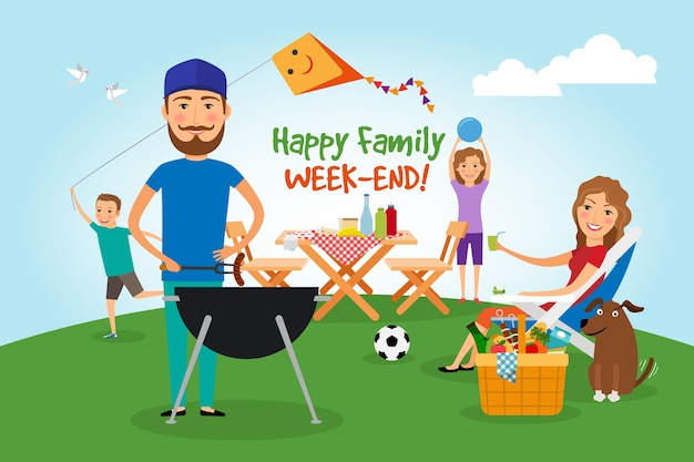 Familie picknick. bbq-feest. eten en barbecue, zomer en grill. vector illustratie