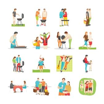 Familie picknick plat pictogrammen