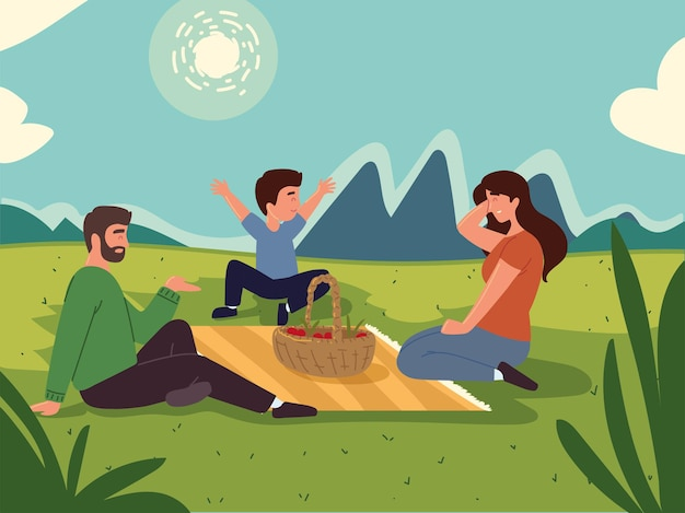 Familie picknickmand voedsellandschap