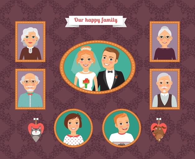 Familie portret. muur met familiefotolijsten. man en vrouw, dochter en zoon, vader en moeder, grootvader en grootmoeder, kat en hond. vector illustratie