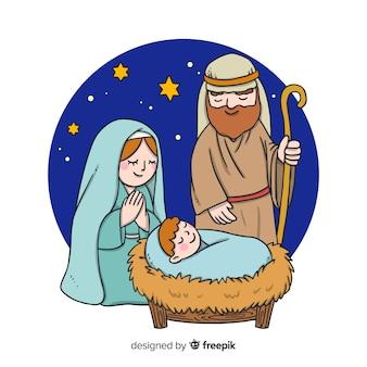 Familie portret nativity achtergrond
