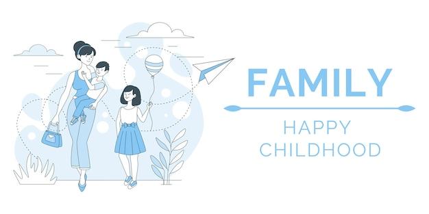 Familie poster concept. gelukkig moeder buiten lopen met kinderen, dochter en zoon illustratie.