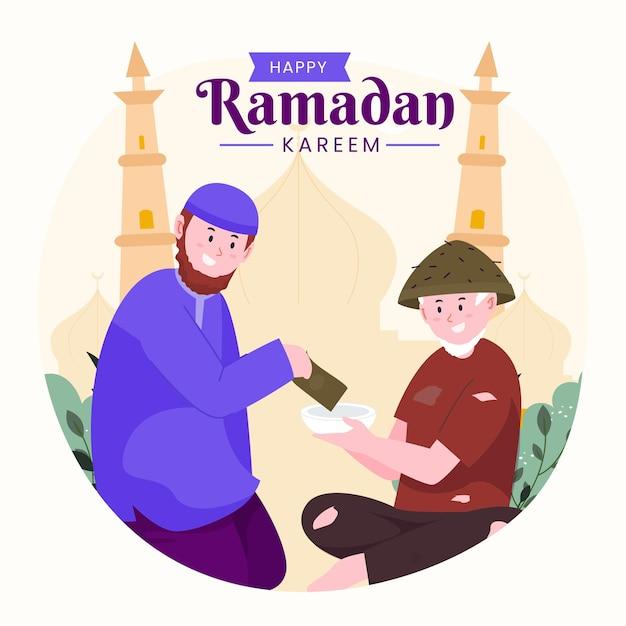 Familie ramadan kareem mubarak met man die voedsel of cadeau geeft aan arme mensen,