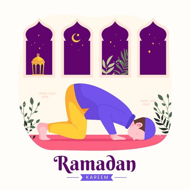 Familie ramadan kareem mubarak met moslim man bidden tijdens het vasten 's nachts lantaarn en halve maan,