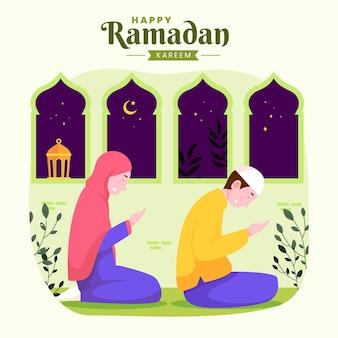 Familie ramadan kareem mubarak met moslimouders bidden tijdens het vasten 's nachts lantaarn en halve maan,