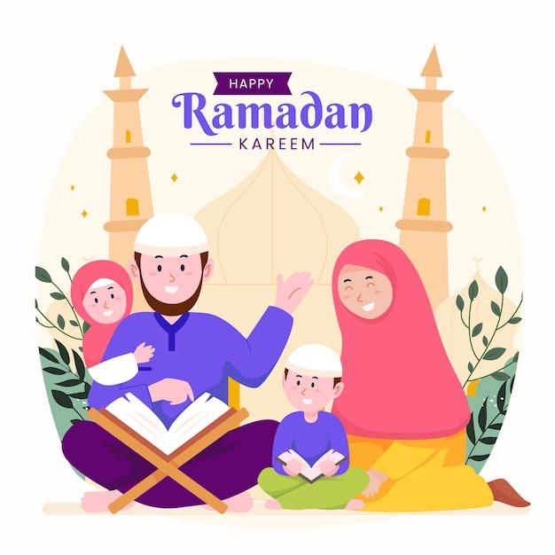 Familie ramadan kareem mubarak met ouders en kinderen die koran lezen tijdens het vasten,