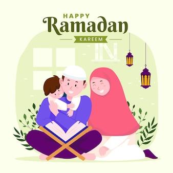 Familie ramadan kareem mubarak met ouders en zoon die koran lezen tijdens het vasten,