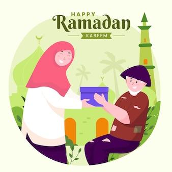 Familie ramadan kareem mubarak met vrouw die voedsel of cadeau geeft aan arme mensen,