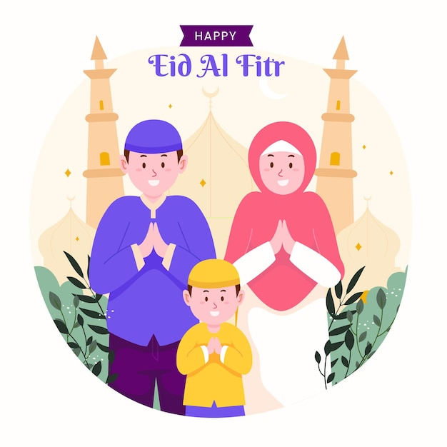 Familie ramadan kareem mubarak viert eid al fitr met kinderen, kinderen en ouders. Premium Vector