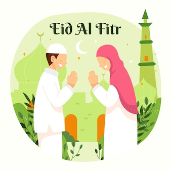 Familie ramadan kareem mubarak viert eid al fitr met man en vrouw. Premium Vector