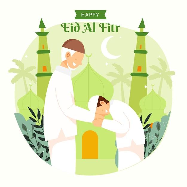 Familie ramadan kareem mubarak viert eid al fitr met vader en zoon.