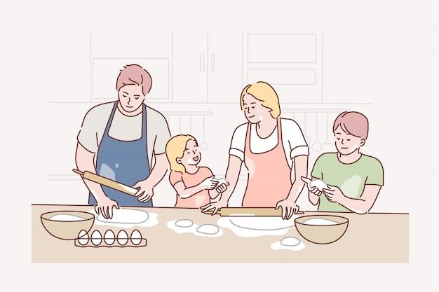 Familie, recreatie, koken, vaderschap, moederschap, concept jeugd