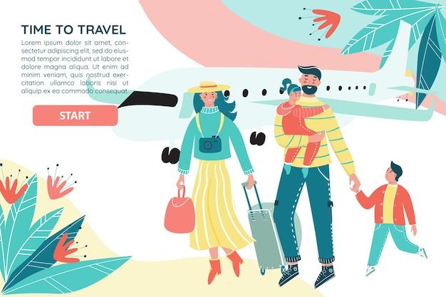 Familie reist samen met bagage en vliegtuig op de achtergrond.
