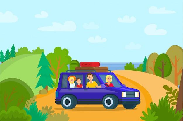 Familie reizen in de auto. reizende zomervakantie.