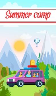 Familie reizen op transportvoertuig met bagage