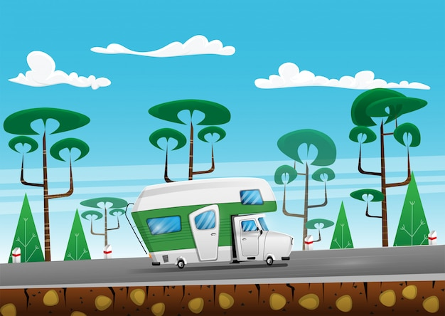 Familie reiziger vrachtwagen op de zomer op bosgebied weg. camper op road trip. cartoon afbeelding