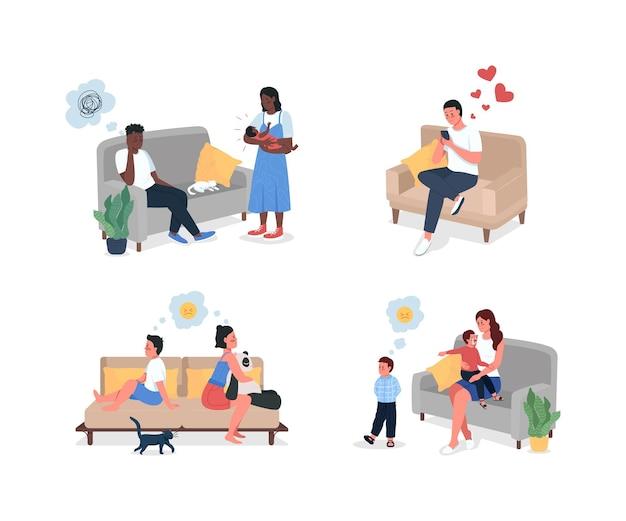 Familie relatie probleem platte colordetailed tekenset. broers en zussen vechten. vader, moeder boos. cartoon geïsoleerde conflict