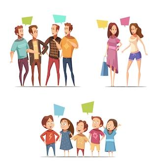 Familie retro cartoon instellen met grappige groepen mannelijke vrouw en kinderen tekens praten met elkaar platte vectorillustratie