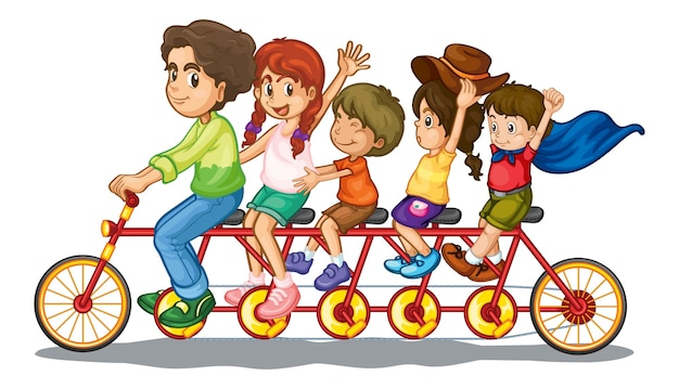 Familie rijdende fiets