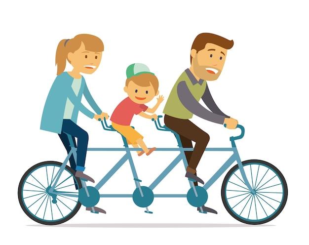 Familie rit tandem fiets op vakantie vakantie