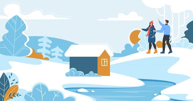 Familie rust op het platteland op wintervakantie