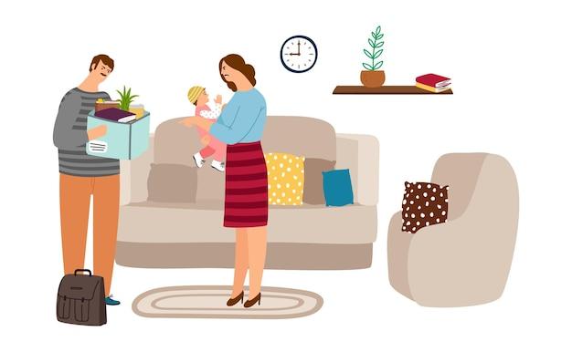 Familie ruzie. de ontslagen echtgenoot kwam thuis, zijn vrouw schreeuwt en knuffelt de baby. sociaal werkloosheidsprobleem, financiële crisis. moeder dochter en vader illustratie