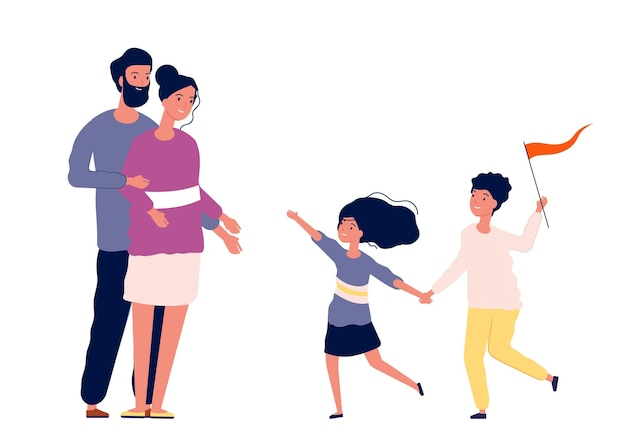 Familie samen. gelukkige kinderen rennen naar ouders. moeder vader wachten dochter en zoon, jongen met vlag vectorillustratie. familie samen gelukkig, kind en ouder