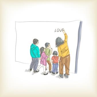 Familie schilderij van liefde vrije hand tekenen, overwinnaar en illustratie