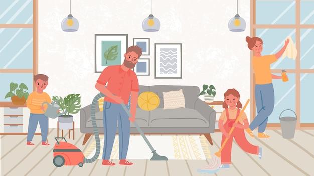 Familie schoonmaak woonkamer. kinderen helpen ouders met huishoudelijke klusjes, vloer dweilen en ramen wassen. huishoudelijk werk samen vector concept. illustratie familie schoonmaken thuis, schonere huiskamer