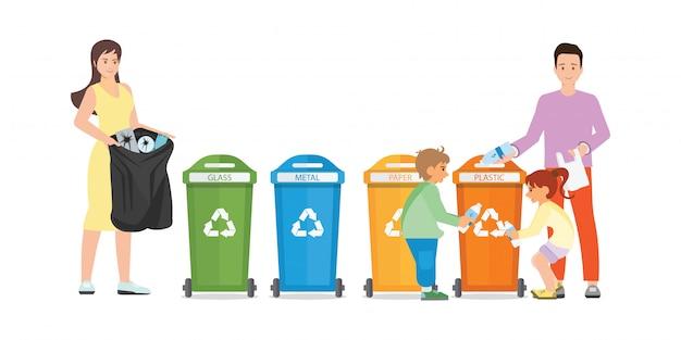Familie sorterend huisvuil in vuilnisman op witte achtergrond.